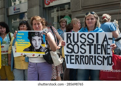 MILAN, JUNE 09, 2015: Ukrainian community protests in Milan against Putin the day before the arrival in Milan of the Russian President for the Russian National Day at Expo.