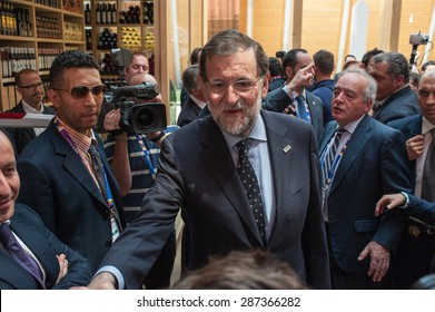 MILAN, JUNE 15, 2015: Spanish Prime MInister, Mariano Rajoy, pictured inside the Spanish Pavilion at Expo