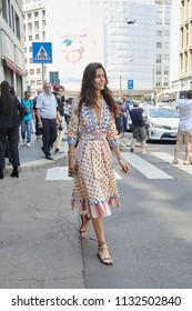 MILAN - JUNE 16: Chiara Totire before Marni fashion show, Milan Fashion Week street style on June 16, 2018 in Milan.