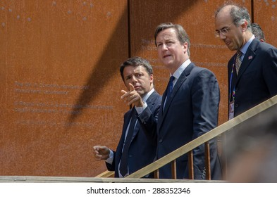 MILAN, JUNE 17, 2015: UK Prime Minister David Cameron, was received by the Italian Prime Minister, Matteo Renzi, on the occasion of the UK National Day at Expo 2015.