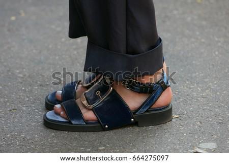 363ca50a360 ... online for sale MILAN - JUNE 19 Woman with blue velvet open sandals  before Fendi fashion ...