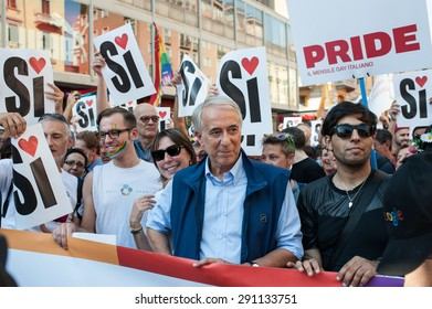 MILAN, JUNE 27, 2015: Mayor of Milan Giuliano Pisapia attends the annual Gay Pride parade on June 27, 2015 in Milan, Italy.