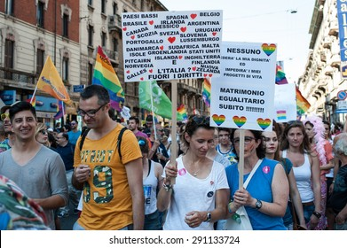 MILAN, JUNE 27, 2015: Thousands attended today at the parade of Milan Pride 2015, organized by the Coordinamento Arcobaleno and dedicated to LGBT pride to demonstrate for civil rights.