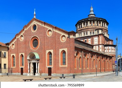 Milan, Lombardy / Italy - 2012/07/08: Santa Maria delle Grazie church with the Last supper fresco by Leonardo da Vinci