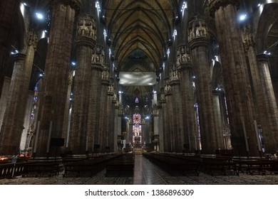 Milan, Lombardy / Italy - April 20 2019: Interior photo from iconic Duomo Cathedral a true Masterpiece in the heart of Milan