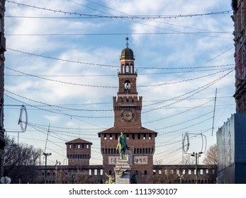 Milan, Lombardy, Italy: the castle known as Castello Sforzesco. The Filarete tower seen from via Dante