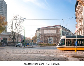 Milan, Lombardy / Italy - December 2018: Public Tram in Porta Romana (roman gate)