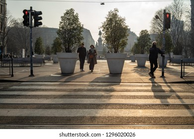 Milan, Lombardy / Italy - January 24th 2019: Tourists in Milan c