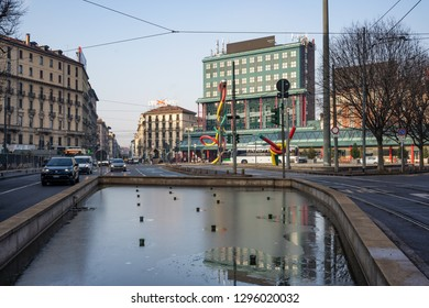 Milan, Lombardy / Italy - January 24th 2019: Traffic and cars in