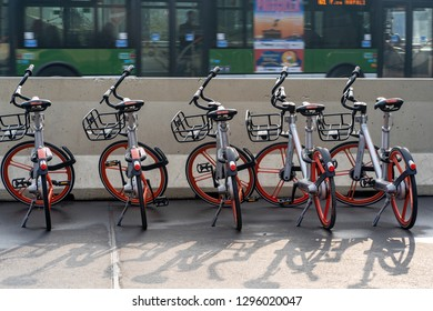 Milan, Lombardy / Italy - January 24th 2019: Bike Sharing in Mil