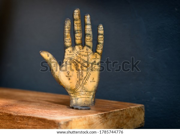 Milan, Lombardy, Italy - July 10, 2020 : Old Tarot hand showing the zones and palmistry markings of the palm and fingers standing upright on a wooden shelf against a dark wall with copyspace