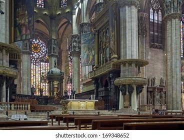 MILAN, LOMBARDY, ITALY - MAY 28: Interior of Milan Cathedral. May 28, 2011 in Milan, Lombardy, Italy