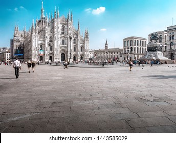 Milan, Lombardy, Italy - September 14, 2016: Milan Cathedral (Duomo di Milano), Cathedral of the Nativity of the Virgin Mary (Cattedrale di Santa Maria Nascente) is the white marble cathedral in Milan