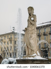 Milan, Lombardy, Italy, Statues and fountain in Giulio Cesare square, near the new Citylife area.