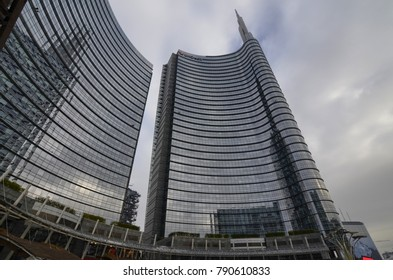 Milan, Lombardy region Italy. 31 December 2017. The skyscrapers of Milan, modern, very high, mirror surfaces, building site. Vertical forest, Hadid, Allianz, Unicredit, Aria, Solaria, Diamond