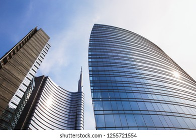 Milan, Lombardy/Italy - 03 11 2014: Bottom view of Unicredit Tower and new skyscrapers building in Gae Aulenti square, the new buisness district of Milan.