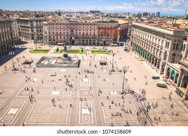 Milan, Lombardy/Italy - 22 July 2014: A view at Duomo square from the top of Milan Cathedral