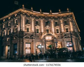 Milan, lombradia / Italy - September 9, 2018: Starbucks opening during night, building is light up.
