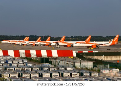 Milan Malpensa Airport (Lombardia, Italy) - May 2020 - Overview of Terminal 1 apron during the Covid-19 lockdown: all italian-based Easyjet fleet was grounded due the contingency.