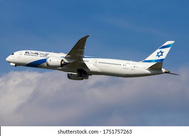 Milan Malpensa Airport (Lombardia, Italy) - May 2020 - Take off Boeing 787-9 El Al Israel Airlines