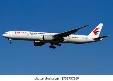 Milan Malpensa Airport (Lombardia, Italy) - May 2020 - Landing of Boeing 777-300 China Eastern