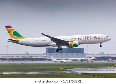 Milan Malpensa Airport (Lombardia, Italy) - May 2020 - Landing of Airbus 330-900 Air Senegal