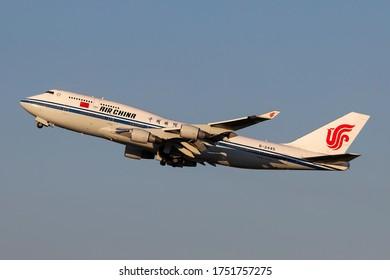 Milan Malpensa Airport (Lombardia, Italy) - May 2020 - Take off Boeing 747-400 Air China