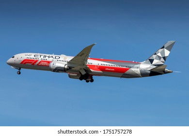 Milan Malpensa Airport (Lombardia, Italy) - May 2020 - Take off Boeing 787-9 Etihad Special F1 livery