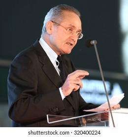 MILAN MALPENSA - APRIL 20, 2015: Pietro Modiano, president of S.E.A. S.p.A. (Societa Esercizi Aeroportuali).