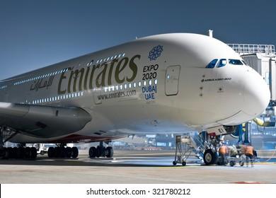MILAN MALPENSA - DECEMBER 15, 2014: An Emirates Airbus 380-800 during boarding operations