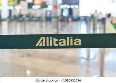 MILAN MALPENSA, ITALY - CIRCA NOVEMBER, 2017: close up shot of Alitalia sign at Milan-Malpensa airport.
