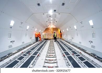 MILAN MALPENSA, ITALY - JANUARY 21, 2014 - Interiors of freight aircraft, a Boeing 747-800 of Air Bridge Cargo