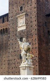 MILAN - MARCH 15, 2017: Statue of Saint John of Nepomuk in (Castello Sforzesco). It was built in the 15th century by Francesco Sforza, Duke of Milan, on the remains of a 14th-century fortification.