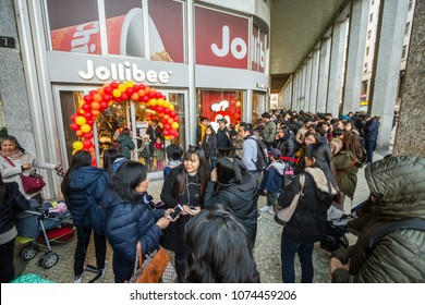 Milan, March 2018: The famous Filipino multinational chain of fast food Jollibee opens its first European  restaurant  in fashion and design capital of the world, on March 2018 in Milan, Italy, Europe