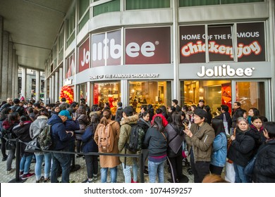 Milan, March 2018: The famous Filipino multinational chain of fast food Jollibee opens its first European  restaurant  in the fashion and design capital of world, on March 2018 in Milan, Italy, Europe