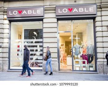 Milan, March 2018: Shop window of Lovable in Shopping Street of fashion and design capital of the world, on March 2018 in Milan, Italy, Europe