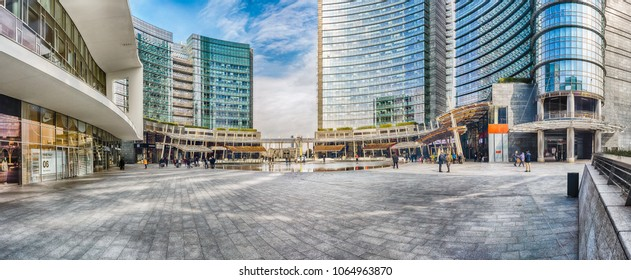 MILAN - MARCH 30: Panoramic view of piazza Gae Aulenti, iconic square in Porta Nuova financial district of Milan, Italy, as seen on March 30, 2018