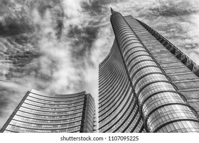 MILAN - MARCH 30: Unicredit Tower complex, iconic skyscrapers which are part of a group of residential and business buildings in Piazza Gae Aulenti, Milan, Italy, as seen on March 30, 2018