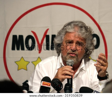 "MILAN - MAY 13, 2014: Beppe Grillo, italian politician leader of ""Movimento 5 Stelle"""