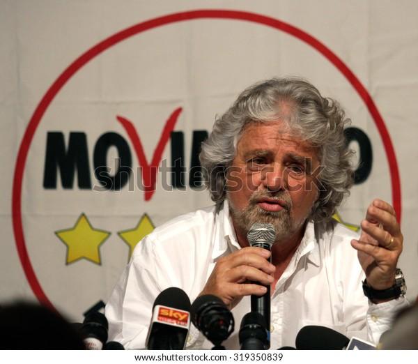 "MILAN - MAY 13, 2014: Beppe Grillo, italian politician leader of ""Movimento 5 Stelle"""