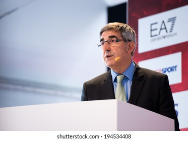 MILAN - MAY 15: CEO of Euroleague Basketball Jordi Bertomeu attends the opening press conference of the Turkish Airlines Euroleague Final Four at Piazza Duomo on May 15, 2014.