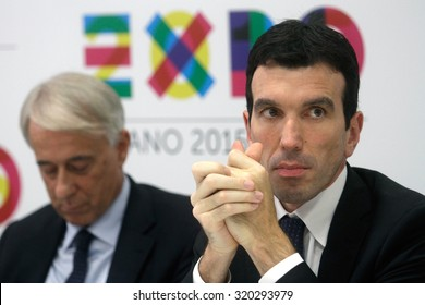 MILAN - MAY 17, 2014 - Italian minister of agricolture, Maurizio Martina, during a press conference for Expo 2015. On the background, the major of Milan, Giuliano Pisapia