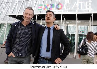 MILAN - MAY 20, 2014: Linus and Nicola Savino, famous radio personality of Radio Deejay, the main radio station of the Italy.