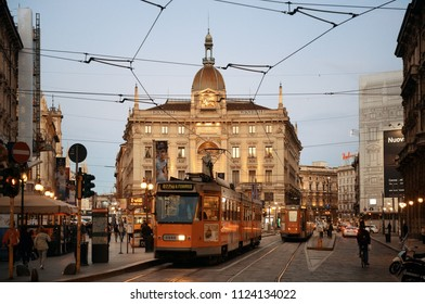MILAN - MAY 24: street view with tram on May 24, 2016 in Milan, Italy. Milan is the second most populous in Italy and the main industrial and financial center.