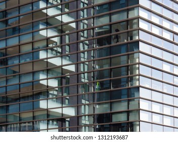 Milan, new gratescapes in the Porta Nuova district, texture of windows and balcony
