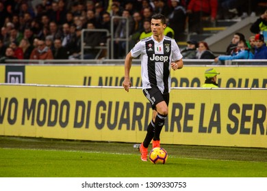 MILAN - NOV 11, 2018: Cristiano Ronaldo 7 controls the ball. AC Milan - Juventus. Italian Serie A TIM. Giuseppe Meazza Stadium