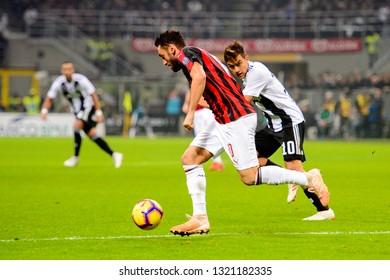 MILAN - NOV 11, 2018: Paulo Dybala 10. AC Milan - Juventus. Italian Serie A TIM. Giuseppe Meazza Stadium