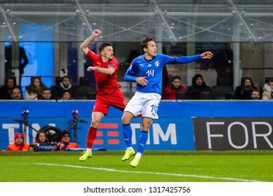 MILAN - NOV 17, 2018: Federico Chiesa 14.  Italy - Portugal. UEFA Nations League. Giuseppe Meazza stadium.