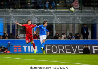 MILAN - NOV 17, 2018: Federico Chiesa 14 in attack.  Italy - Portugal. UEFA Nations League. Giuseppe Meazza stadium.