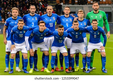 MILAN - NOV 17, 2018:  Italian national team photo. Italy - Portugal. UEFA Nations League. Giuseppe Meazza stadium.